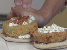 Open-faced, fried green tomato sandwich
