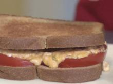 Grilled tomato and jalapeno pimento cheese sandwich
