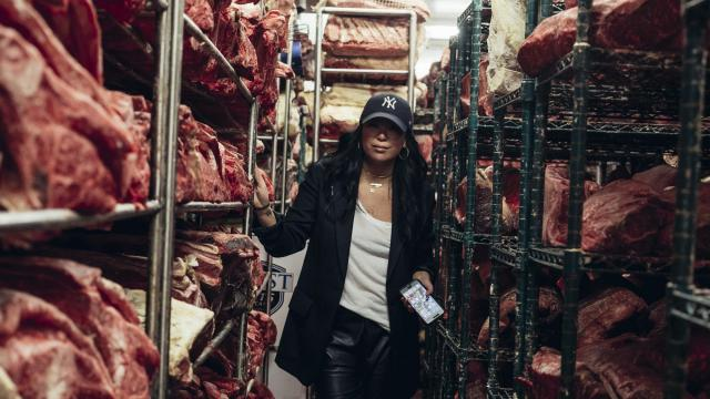 Angie Mar, the chef at the Beatrice Inn, walks through the dry-aging room at Pat LaFrieda Meat Purveyors, choosing the cuts she likes best for her restaurant, in North Bergen, N.J., Dec. 14, 2017. Mar has made her mark with luxurious old-school cooking and a management style that defies toxic restaurant culture. .(Sasha Arutyunova/The New York Times)