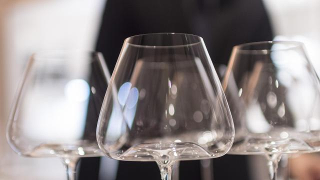 FILE — Wine glasses at Gunter Seeger in New York, Sept. 13, 2016. Seeger said he selected the glasses for their ability to aerate wine and in some cases enhance its aroma. (Daniel Krieger/The New York Times)
