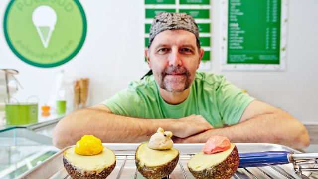Giacomo d'Alessandro with some of his frozen avocado creations at Polosud, his gelateria in the Little Italy neighborhood of New York on Oct. 12, 2018. He fills empty avocado shells with lush, creamy and lemony vegan frozen avocado purée, while a scooplet of a contrasting flavor, like hazelnut or coffee, simulates the pit. (Moya McAllister/The New York Times)