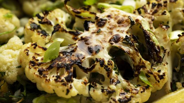 Charred cauliflower with anchovies, capers and olives in New York, Oct. 10, 2018. (Karsten Moran/The New York Times)