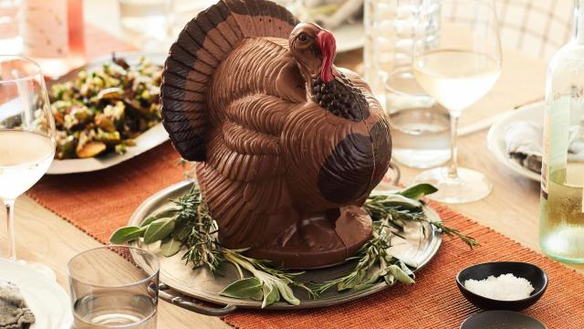 Bissinger's stunning hollow three-pound milk and dark chocolate turkey. The treat sits nine and a half inches high. (Mark Weinberg/The New York Times)