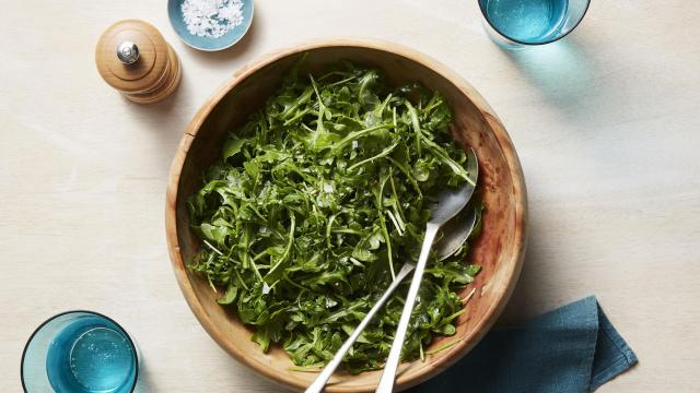 Arugula salad with anchovy dressing, in New York. The salad serves as a Thanksgiving palate cleanser before the pie. Food Stylist: Barrett Washburne. Prop Stylist: Courtney de Wet. (Christopher Testani/The New York Times)