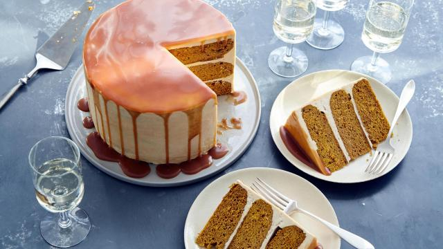 Pumpkin layer cake with caramel buttercream, in New York. This layer cake serves as a sweet alternative to the traditional Thanksgiving pumpkin pie. Food Stylist: Monica Pierini. (Joseph De Leo/The New York Times)