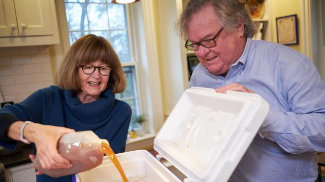 Cookbook editor Rux Martin and her husband, food writer Barry Estarbrook, demonstrate brining a turkey in their home kitchen in Ferrisburgh, Vt., Nov. 6, 2018. After two decades of flying high, the wet-brined bird has lost altitude with many of the food-media influencers who sent it soaring. (Brett Simison/The New York Times)