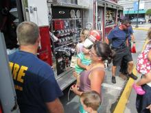 Fire truck arrives at Go Ask Mom event at North Hills