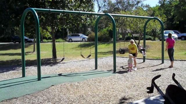 Community Center park is one of several parks in Chapel Hill that has rubber mat surfacing instead of sand or mulch.