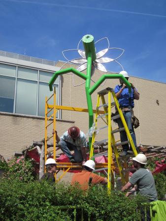 The 22-foot tall flower is under construction.