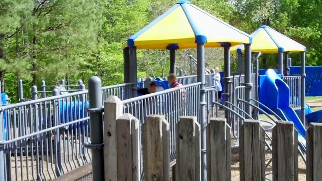 A view of the playground at Blue Jay Point County Park.