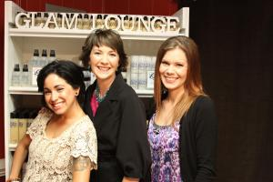 Goodyear and Carrington of Glam Lounge in Raleigh with Brittney Switala, Go Ask Mom's makeover winner.