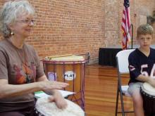Cathy Kielar of Music Exploriuim leads a workshop