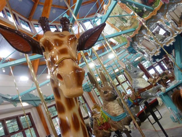 A giraffe on the Pullen Park carousel