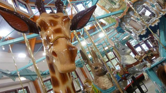 A giraffe on the Pullen Park carousel