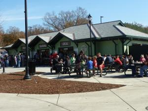 The lunch time crowd at Pullen Park's new Pullen Place cafe during opening weekend.