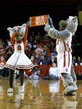 Mr. and Mrs. Wuf at a N.C. State women's basketball game