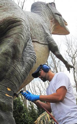 A technician puts the finishing touches on a T-rex, one of the 16 life-like animatronic creatures in the NC Zoo's new summer attraction, Dinosaurs, opening Saturday, March 31. Summer hours at the park, 9 a.m. - 5 p.m., will also begin then. (NC Zoo photo by Tom Gillespie)