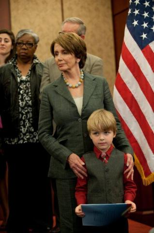 Ethan Willems, 5, with Nancy Pelosi