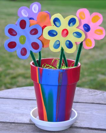 Thumb print flowers for Mother's Day from In Lieu of Preschool