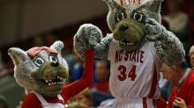 Mr. and Mrs. Wuf at an N.C. State women's basketball game