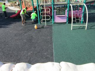 Crews work on Community Center Park playground in Chapel Hill. Photo courtesy: Town of Chapel Hill