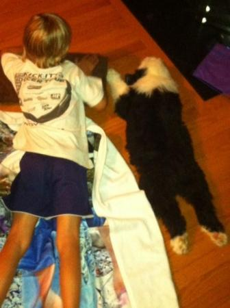 Chester with Lynda's son Caiden