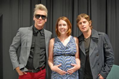 Kathy Hanrahan with Rob Thomas and Kyle Cook of Matchbox 20