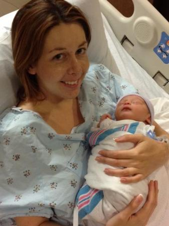 Kathy Hanrahan with son Colton Patrick minutes after he was born.
