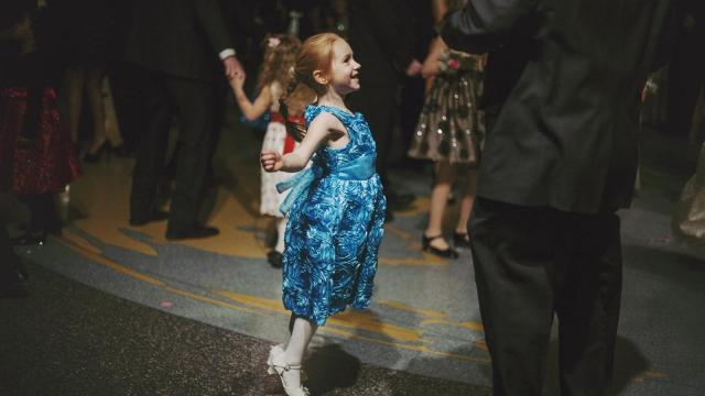 Kaitlin Hathaway, 5, dances with her dad, Brad, at the Father-Daughter Dance on Saturday, Feb. 2.