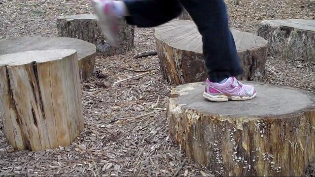 Hopping across the stumps at Blue Jay Point County Park's nature play area