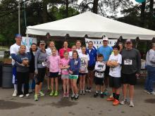 "Amanda Lamb and her friends and family participate in the ""Angels Among Us"" 5k to raise money for the Preston Robert Tisch Brain Tumor Center at Duke where her mother was treated."