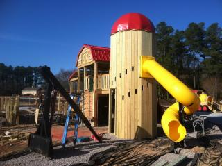 Knightdale Station playground under construction