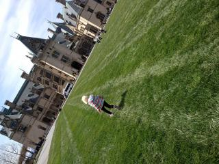 Running on the lawn in front of Biltmore in Asheville