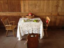 Children's table set for tea at the barn at Antler Hill Village, Biltmore estate