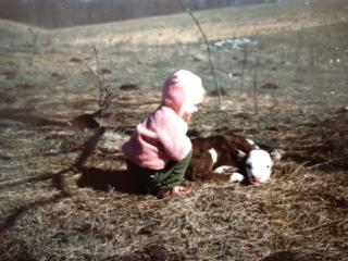 Lynda Loveland, age 2, visits with a calf.