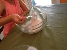 Making homemade slime