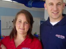 Jen and Andrew George, with son Dalton, owners of Aqua-Tots
