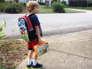 Julia Sims' son on his way to kindergarten