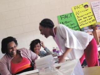 Tasha Kornegay volunteers to teach young women about HIV/AIDS.