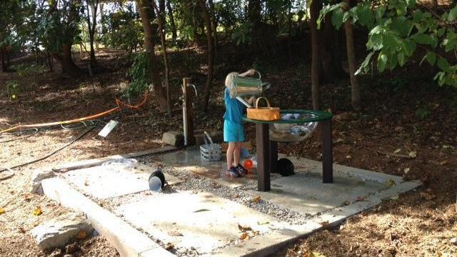 One of two water play areas.