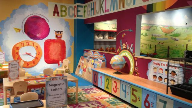 The exhibit is Marbles' version of a kindergarten classroom.