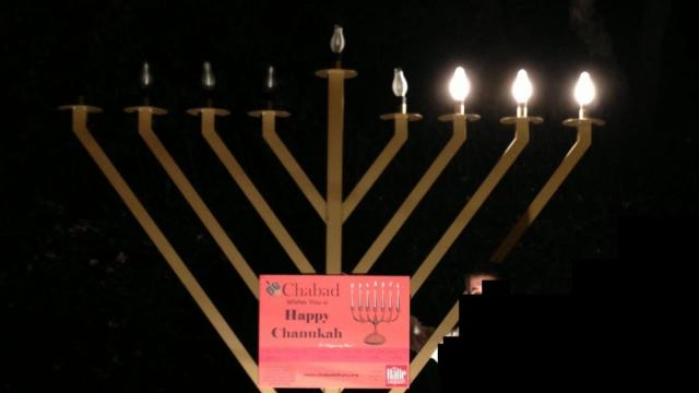 The Chabad of Cary marks Hanukkah with this nine-foot menorah in Apex.