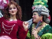 Cinderella's fairy godmother (Sarah Winter) and stepmother (Samantha Glover)
