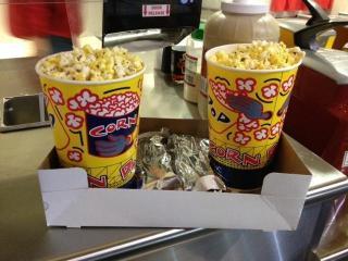 Popcorn and hot dogs at the Carolina Hurricanes Family Night.