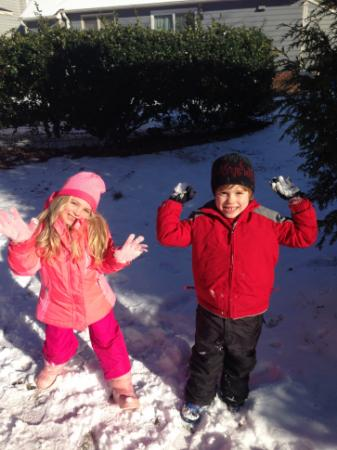 Will, Julia Sims' son, plays with a friend on a recent snow day