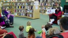 Ms. Oakley leads a storytime at Quail Ridge Books