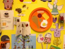 Storytime crafts line the wall at Quail Ridge Books & Music