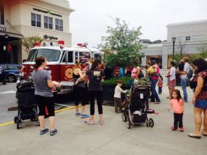 First-In Fire Company's truck visits Go Ask Mom's playdate at North Hills Kids