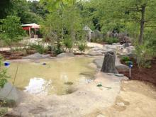 The interactive outdoor play area opened in March 2014. It includes a creek to splay in, a mud kitchen, play house, maze, crafts, animal visits and more. KidZone sits across from the polar bear exhibit on the North America side.