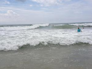 Playing in the waves at Topsail Island